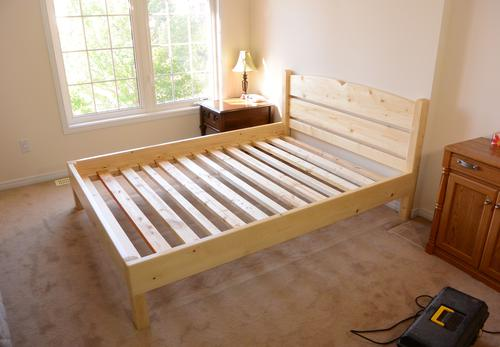 Queen size bed from lumber