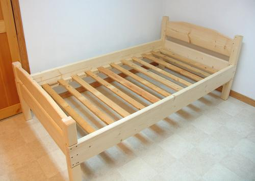 and finally the bed frame all assembled for the slats i used recycled lumber ironically the slats are salvaged from an old box spring that i had - Used Bed Frames