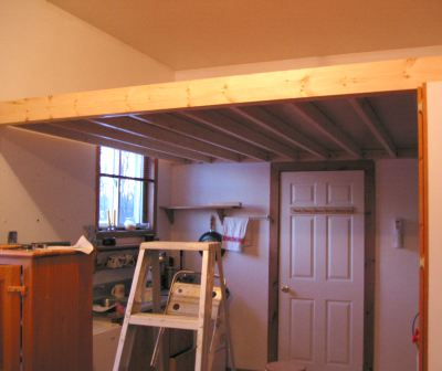 The loft with the plywood installed, as seen from below. It was ...