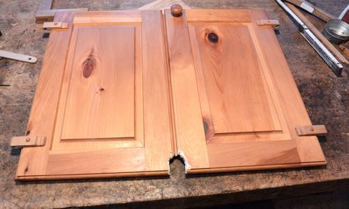 Repairing squirrel damaged cabinet doors - Refinishing damaged wood exterior doors ...