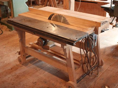 ... built a wooden table saw to use as asecond table saw in his workshop