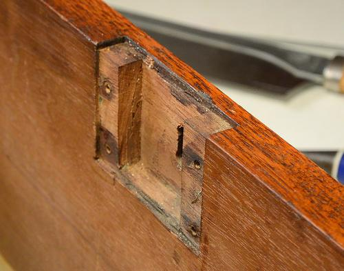 The mortise for the lock looks like it was cut entirely with hand tools.  You can see how the main part of the mortise was cut with a hand saw as  deep ... - Trash To Treasure: Antique Desk Drawers