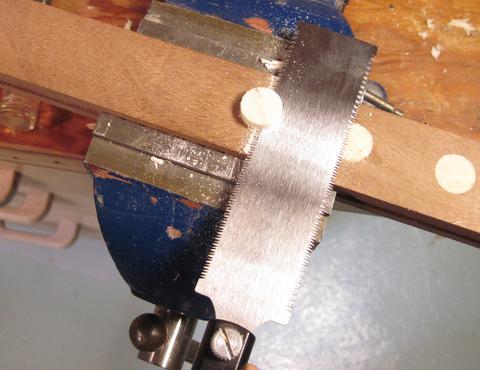 Flush cutting a dowel