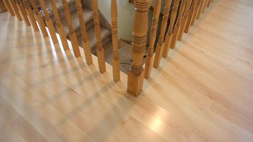 Fitting Flooring Around Stair Rail Spindles, How To Install Laminate Flooring Around Stair Railings