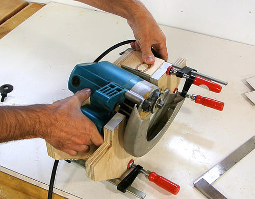 Homemade table saw from circular saw on