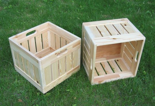 milk crate inspired wooden boxes