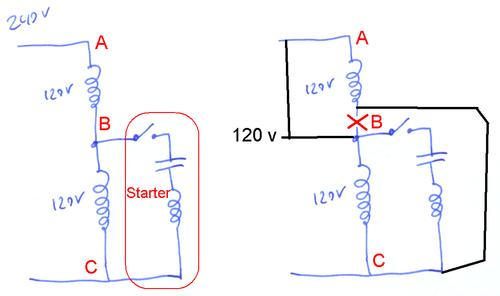 switching a motor between 240 and 120 volts