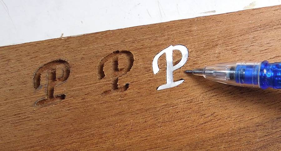 wood inlay letters