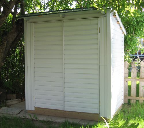 i built this storage shed from recycled and leftover materials to make a little room in my garage i was able to free up a lot of space in the garage with