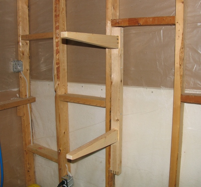 And here's one of the shelf support brackets mounted on the wall. I ...