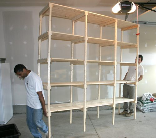 The whole shelf is an impressively large unit, considering the small pile  of lumber we started out with. Its a full 8 foot (2.4 meters) high and long.