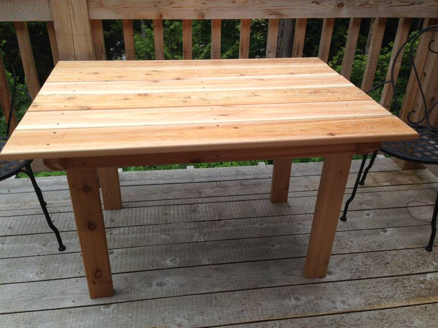 Patio table, as built
