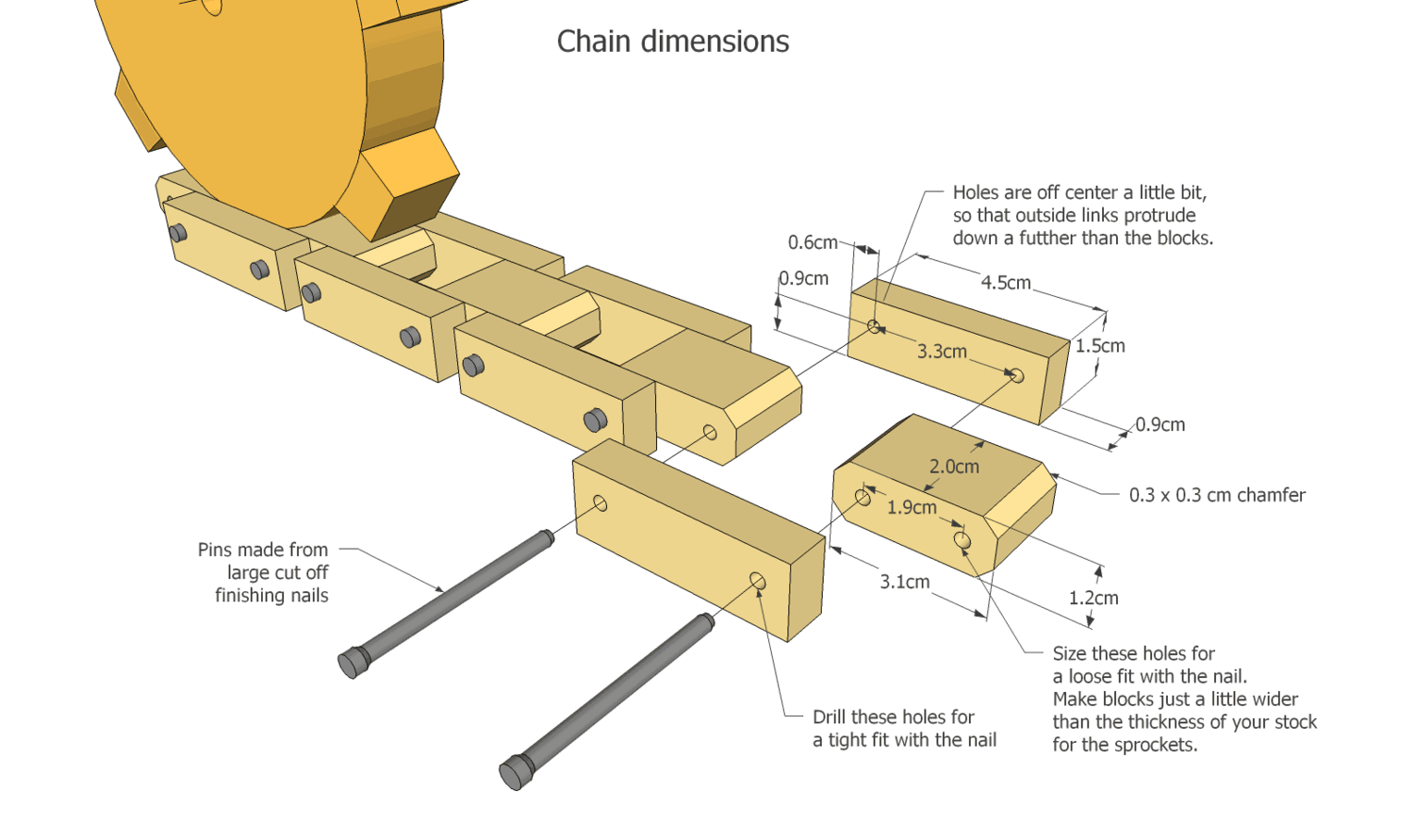 Use a hard wood such as maple for the chains and sprockets.