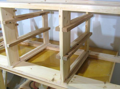workbench with drawers plans. i used pieces of recycled hardwood for the drawer slides. slides are attached to front frame and back frame, only things that workbench with drawers plans e
