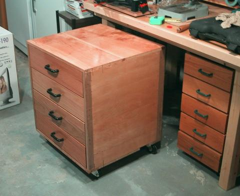The first place I set up that workbench was in the basement of my house at the time. & Open bottomed workbench